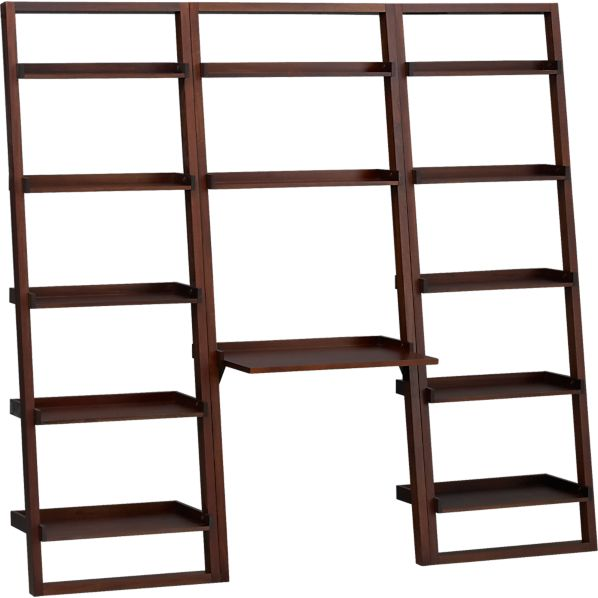 """Sloane Java Leaning Desk with Two 25.5"""" Bookcases"""