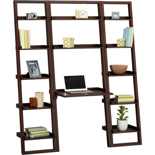 "Sloane Java Leaning Desk with Two 18"" Bookcases"
