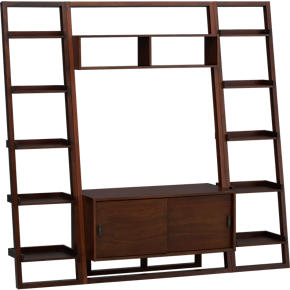 Sloane Java 43.75 Leaning Media Stand with Two 18 Bookcases