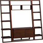 "Sloane Java 43.75"" Leaning Media Stand with Two 18"" Bookcases."