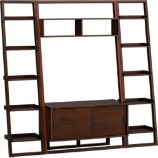 Sloane Java 43.75&quot; Leaning Media Stand with Two 18&quot; Bookcases