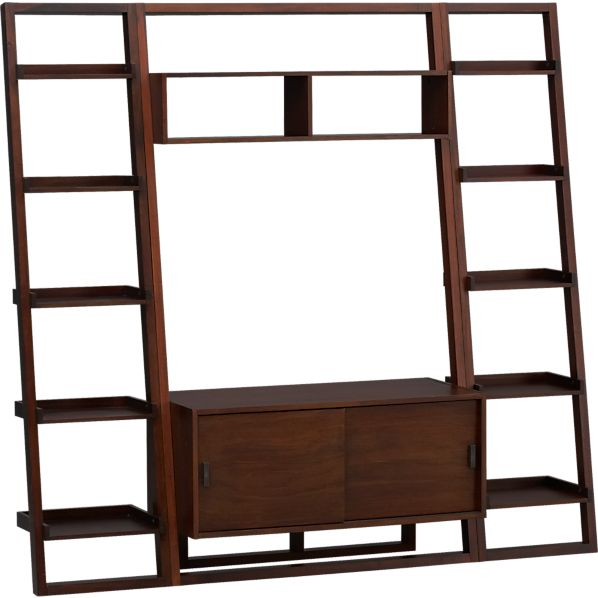 "Sloane Java 43.75"" Leaning Media Stand with Two 18"" Bookcases"