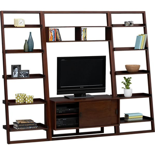 "Sloane Java 43.75"" Leaning Media Stand with Two 25.5"" Bookcases"