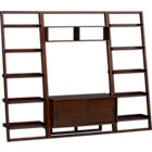 "Sloane Java 43.75"" Leaning Media Stand with Two 25.5"" Bookcases."