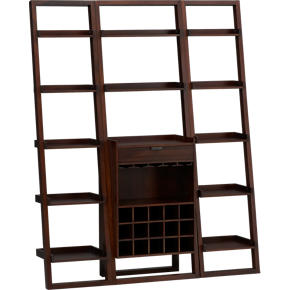 Sloane Java Leaning Wine Bar with Two 18 Bookcases