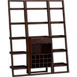 "Sloane Java Leaning Wine Bar with Two 18"" Bookcases"