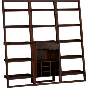 Sloane Java Leaning Wine Bar with Two 25.5 Bookcases