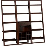 Sloane Java Leaning Wine Bar with Two 25.5&quot; Bookcases