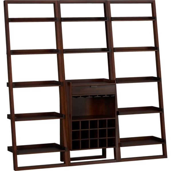 "Sloane Java Leaning Wine Bar with Two 25.5"" Bookcases"