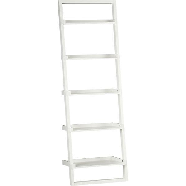 """Sloane White 25.5"""" Leaning Bookcase"""