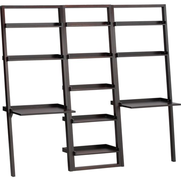 "Sloane Espresso 25.5"" Leaning Bookcase with 2 Desks"