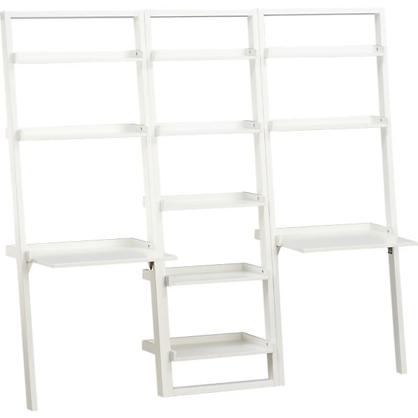 "Sloane White 25.5"" Leaning Bookcase with 2 Desks"