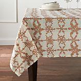 "Snowfall Gold Linen 60""x120"" Tablecloth"