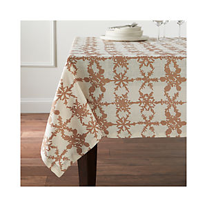 Snowfall Gold Linen Tablecloth