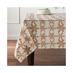 Snowfall Gold Linen Tablecloth