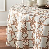 "Snowfall Gold Linen 90"" Round Tablecloth"