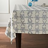 "Snowfall Silver Linen 60""x90"" Tablecloth"