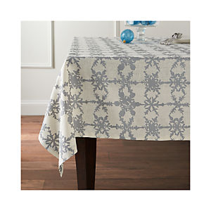 Snowfall Silver Linen Tablecloth