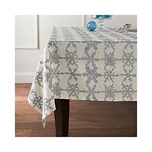 Snowfall Silver Linen Tablecloth