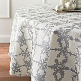 "Snowfall Silver Linen 90"" Round Tablecloth"