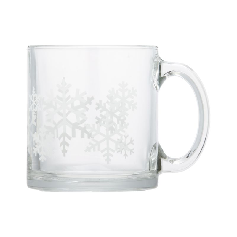 Pure white snowflakes come into focus when you pour your favorite beverage into this contemporary straight-up mug with oversized handle.<br /><br /><NEWTAG/><ul><li>Glass</li><li>Dishwasher- and microwave-safe</li><li>Made in USA</li></ul>