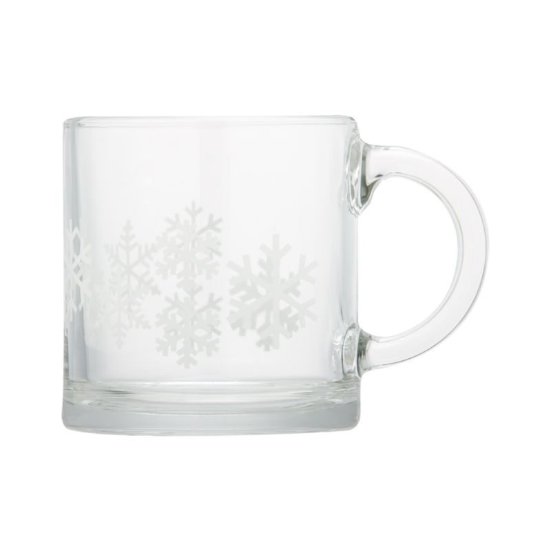 Pure white snowflakes come into focus when you pour your favorite beverage into this contemporary straight-up mug with oversized handle. Small size is great for kids or double espresso or macchiato.<br /><br /><NEWTAG/><ul><li>Glass</li><li>Silkscreened design</li><li>Dishwasher- and microwave-safe</li><li>Made in USA</li></ul>
