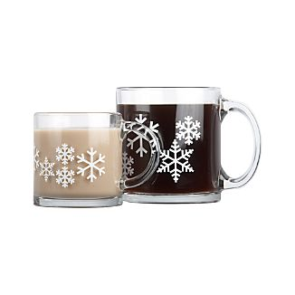 Snowflake Glass Mugs