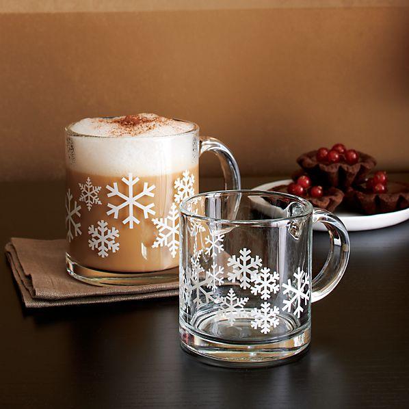 Snowflake Glass Mugs
