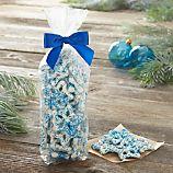 Blue and White Snowflake Pretzels