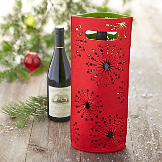 Red and Green Felt Wine Bag