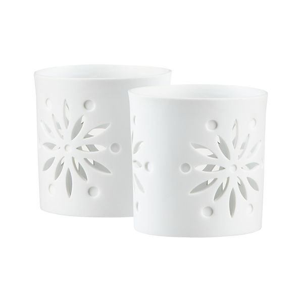 Set of 2 Snowsettia Candleholders