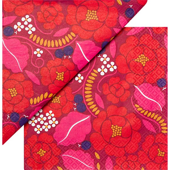"Set of 20 Marimekko Sonja Red Paper 4.75"" Napkins"