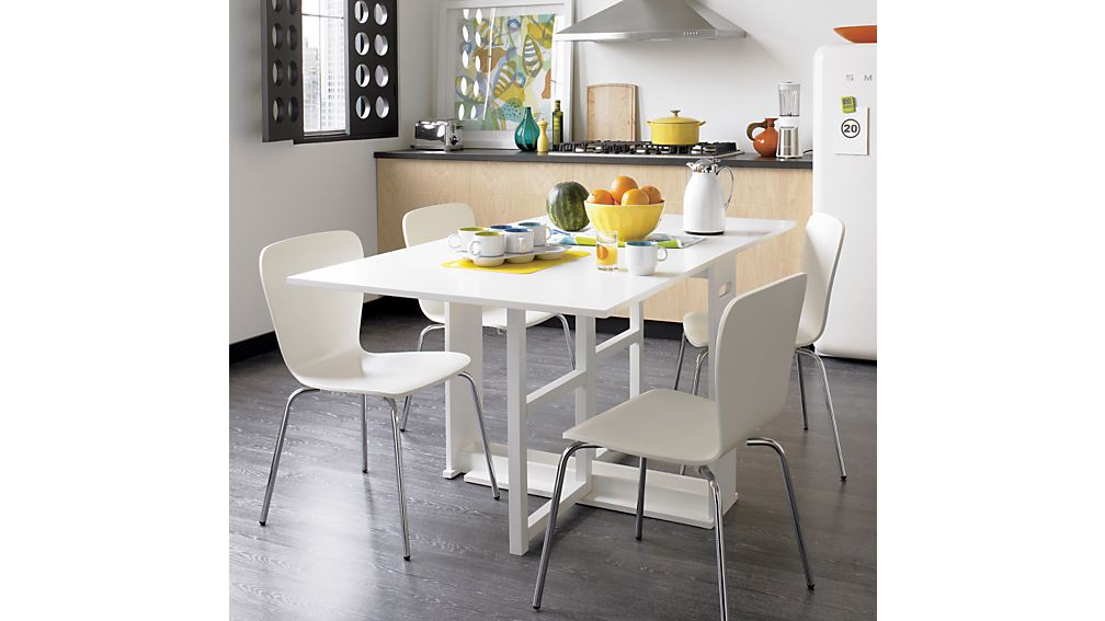 Span White Gateleg Dining Table : Crate and Barrel