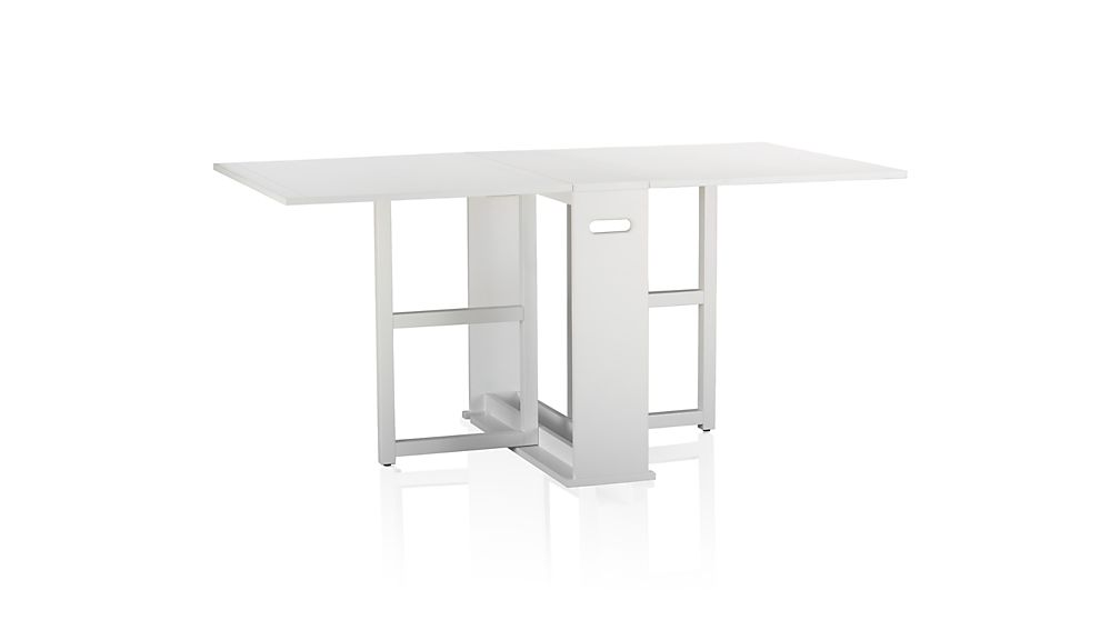 Span white gateleg dining table crate and barrel - Gateleg table with folding chairs ...
