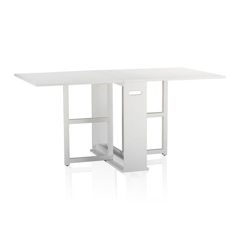 "An ingenious classic for modern times, our slender gateleg table opens to a generous 65½"" wide accommodate up to four guests, then folds up to a slim 9½"" wide to stow away until your next gathering. Compact design can also function as a sleek console against a wall. Wood construction with an oak veneer tabletop and semigloss white lacquer finish.<br /><br /><a href=""/Assembly-Instructions/English/Span_Gateleg_Table.pdf"">Important operational instructions (PDF format).</a><br /><br /><NEWTAG/><ul><li>Tabletop is oak veneer and low-emission engineered wood with solid rubberwood edge banding</li><li>Frame and legs are sustainable solid rubberw"