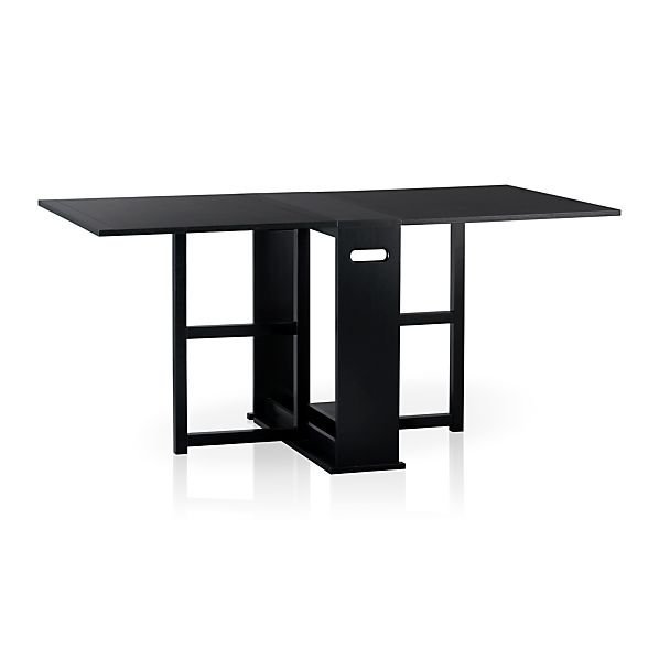 Counter Height Gateleg Table : Span Black Gateleg Dining Table in Dining Tables Crate and Barrel