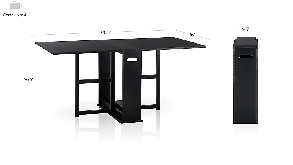 Span Black Gateleg Dining Table Dimensions