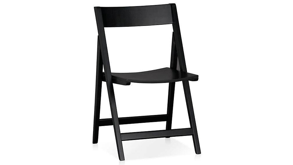 spare black folding wood dining chair in dining chairs crate and barrel. Black Bedroom Furniture Sets. Home Design Ideas