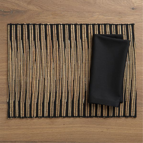 Spears Placemat and Fete Black Cotton Napkin