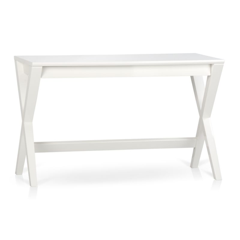 Spotlight is our classic campaign desk, but with a contemporary, refined turn. Its crossed legs—stained crisp white—support a sleek tabletop with a slim, wide drawer that slides out to reveal smart storage and flips into a work surface. <NEWTAG/><ul><li>Designed by Mark Daniel of Slate</li><li>Solid hardwood frame</li><li>Ash veneer top with solid wood edge banding</li><li>White lacquer and protective topcoat</li><li>Made in Vietnam</li></ul><br />