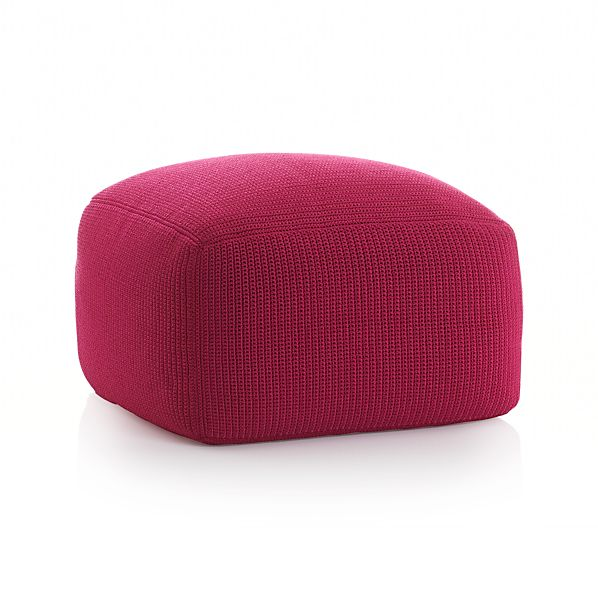 outdoor square fuchsia pouf crate and barrel. Black Bedroom Furniture Sets. Home Design Ideas