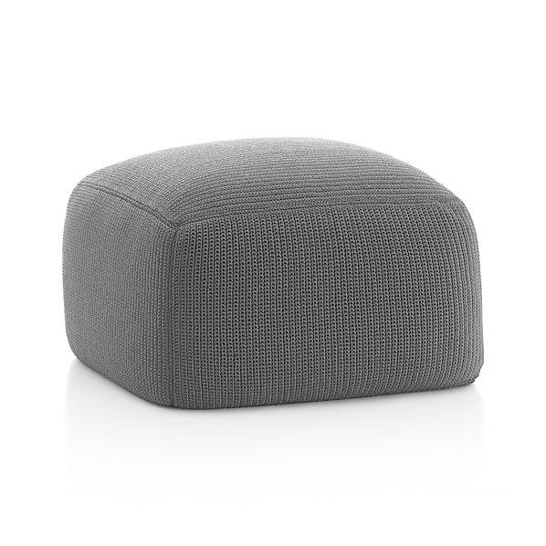 outdoor square graphite pouf crate and barrel. Black Bedroom Furniture Sets. Home Design Ideas