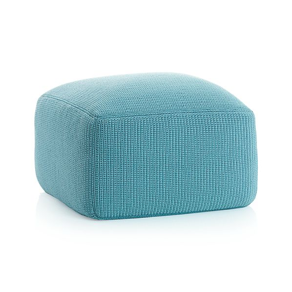 Outdoor square mineral pouf for Crate and barrel pouf