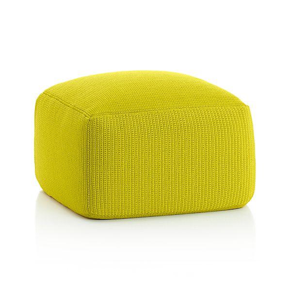 outdoor square sulfur pouf crate and barrel. Black Bedroom Furniture Sets. Home Design Ideas