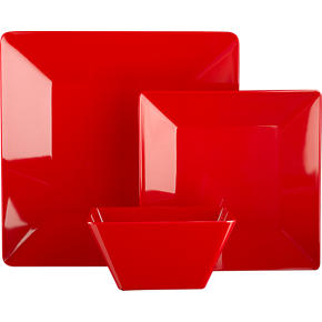 Square Red Dinnerware
