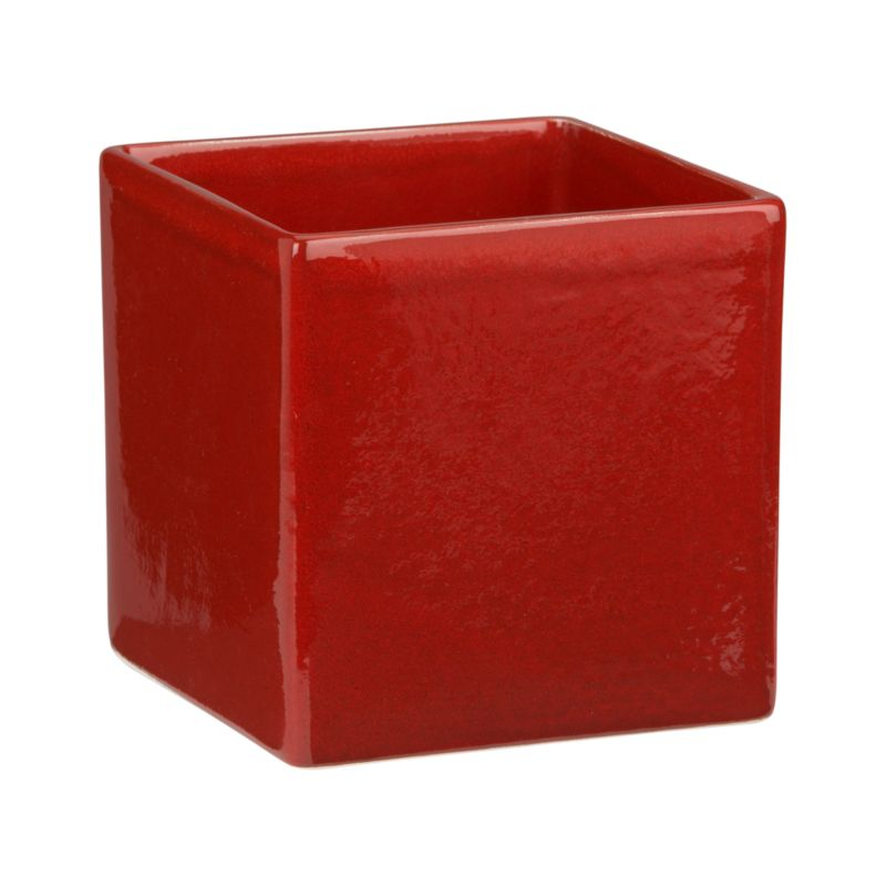 High-fired red earthenware in a petite square for fresh arrangements.<br /><br /><NEWTAG/><ul><li>High-fired earthenware</li><li>Glossy red finish</li><li>Watertight</li><li>Hand wash</li><li>Made in Portugal</li></ul>