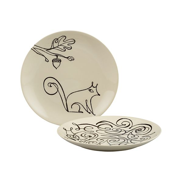 "Squirrel and Scroll 8.5"" Plates"