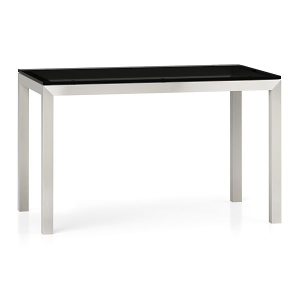 Grey Glass Top Stainless Steel Base Parsons Dining Tables Crate And