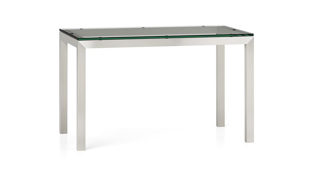 Clear Glass Top Stainless Steel Base Parsons Dining  : clear glass top stainless steel base parsons dining tables from crateandbarrel.com size 1008 x 567 jpeg 14kB