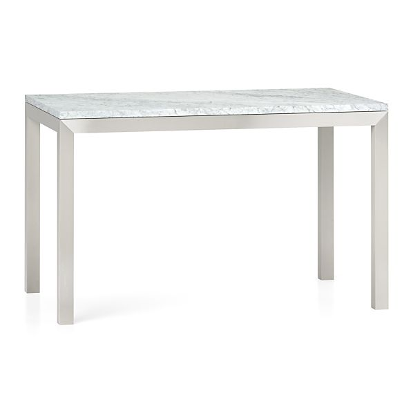 Crate And Barrel Black Marble Coffee Table: Marble Top/ Stainless Steel Base Parsons Dining Tables